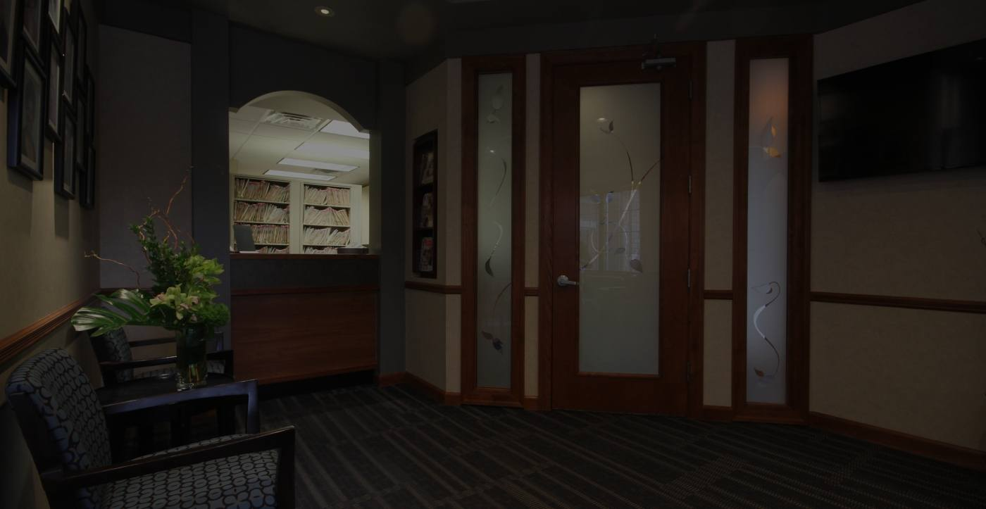 Dental office entry and reception desk